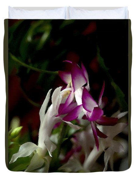 Duvet Cover featuring the photograph Christmas Cactus by B Wayne Mullins