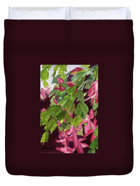 Duvet Cover featuring the painting Christmas Cactus by Lynne Reichhart