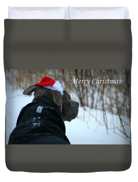 Christmas Card Pit Bull  Duvet Cover