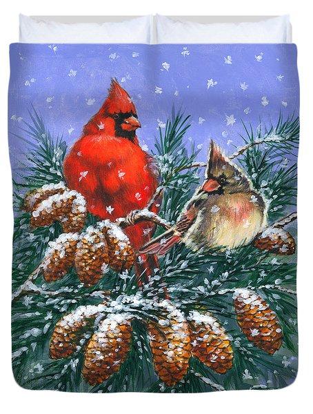 Christmas Cardinals #1 Duvet Cover