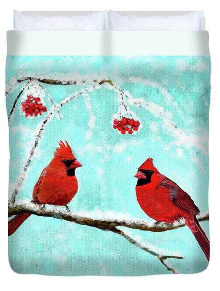 Duvet Cover featuring the painting Christmas Cardinals by Leslie Allen