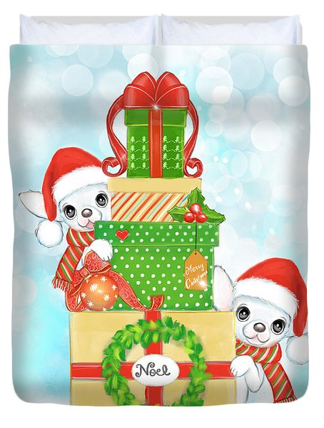Duvet Cover featuring the painting Christmas Chi Elves by Catia Lee