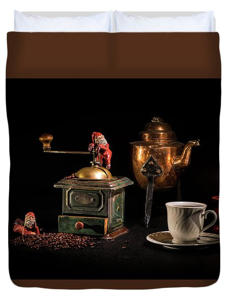 Duvet Cover featuring the photograph Christmas Coffee-time by Torbjorn Swenelius