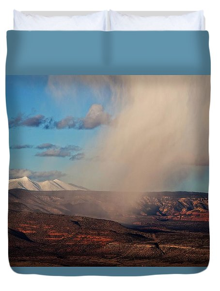 Duvet Cover featuring the photograph Christmas Day Snow Mix San Francisco Peaks by Ron Chilston
