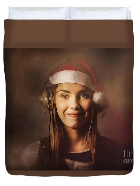 Duvet Cover featuring the photograph Christmas Disco Dj Woman by Jorgo Photography - Wall Art Gallery