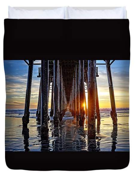 Christmas Eve At The Pier Duvet Cover by Ann Patterson