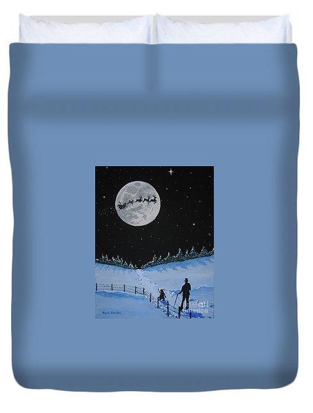 Christmas Eve Stroll Duvet Cover