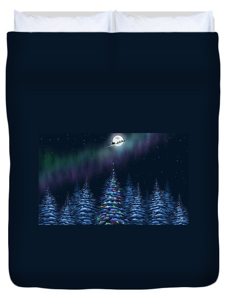Duvet Cover featuring the painting Christmas Eve by Veronica Minozzi