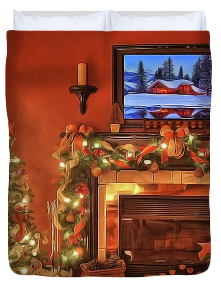 Duvet Cover featuring the painting Christmas Fire by Harry Warrick
