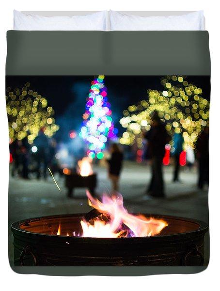 Christmas Fire Pit Duvet Cover