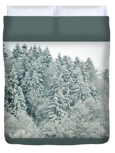 Duvet Cover featuring the photograph Christmas Forest - Winter In Switzerland by Susanne Van Hulst