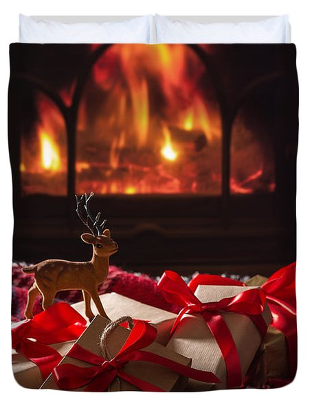 Christmas Gifts By The Fire Duvet Cover
