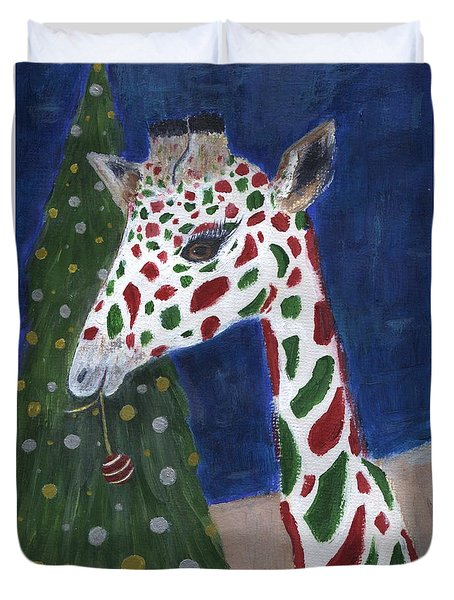 Duvet Cover featuring the painting Christmas Giraffe by Jamie Frier