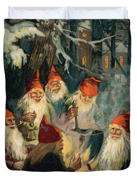 Christmas Gnomes Duvet Cover by English School