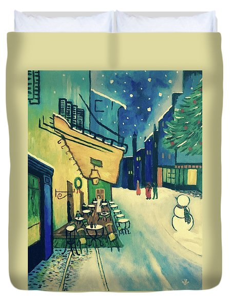 Christmas Homage To Vangogh Duvet Cover