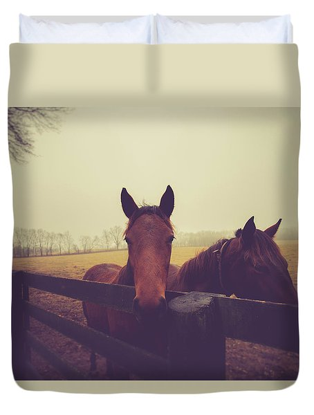 Duvet Cover featuring the photograph Christmas Horses by Shane Holsclaw