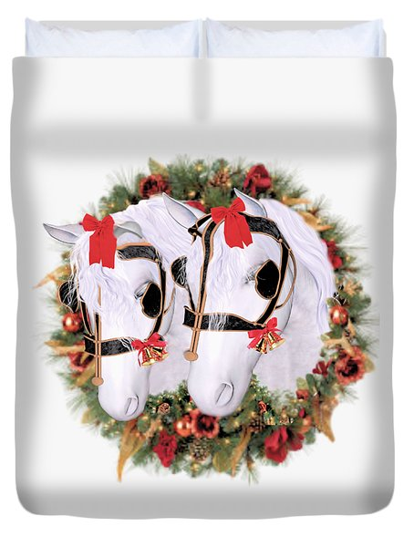Duvet Cover featuring the painting  Snowflake And Holly by Valerie Anne Kelly