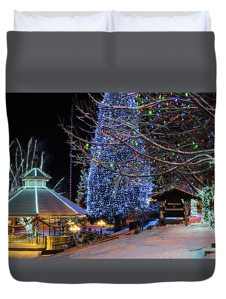 Duvet Cover featuring the photograph Christmas In Leavenworth by Dan Mihai