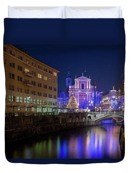 Christmas In Ljubljana Duvet Cover