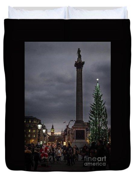 Christmas In Trafalgar Square, London Duvet Cover