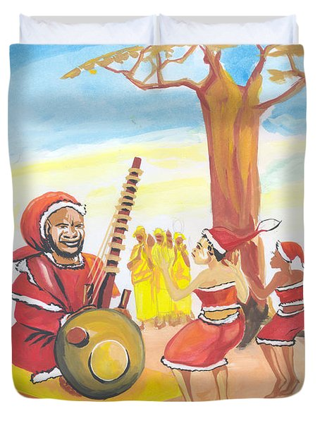 Duvet Cover featuring the painting Christmas In Senegal by Emmanuel Baliyanga