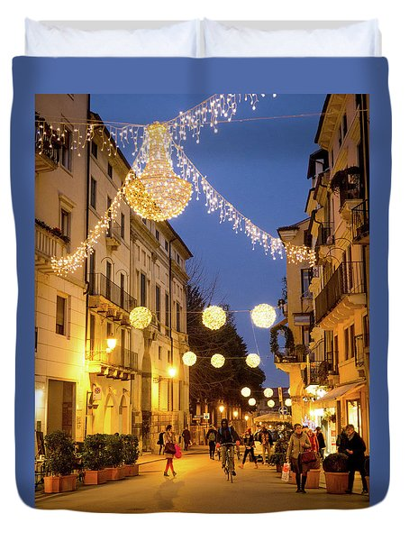 Christmas In Vicenza Italy Duvet Cover