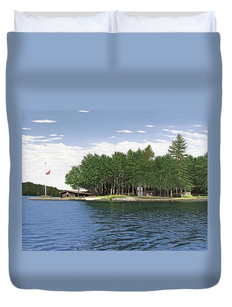 Duvet Cover featuring the painting Christmas Island Muskoka by Kenneth M Kirsch
