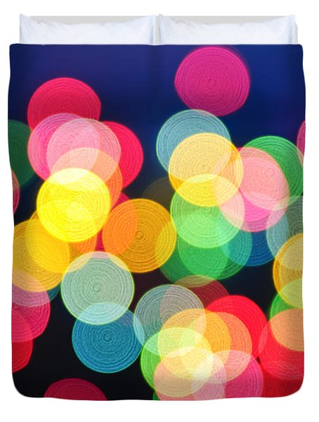 Christmas Lights Abstract Duvet Cover