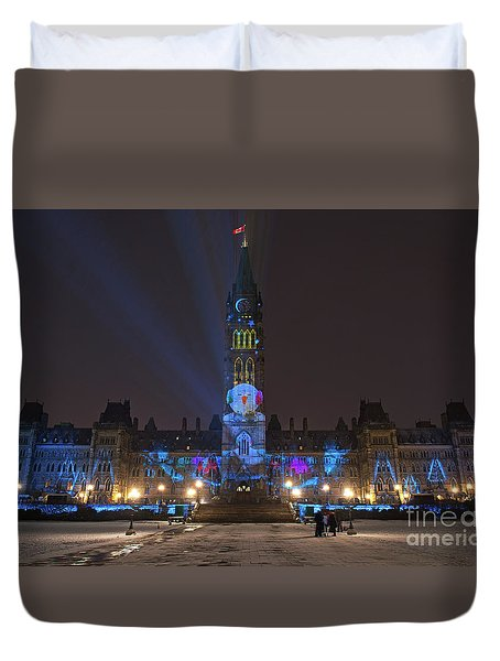 Duvet Cover featuring the photograph Christmas Lights Across Canada.. by Nina Stavlund