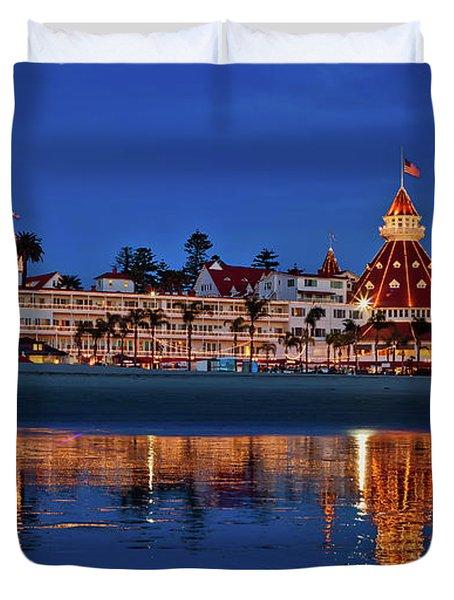 Christmas Lights At The Hotel Del Coronado Duvet Cover