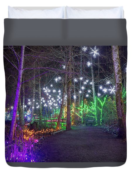 Christmas Lights Decoration Along Lafarge Lake Path Duvet Cover