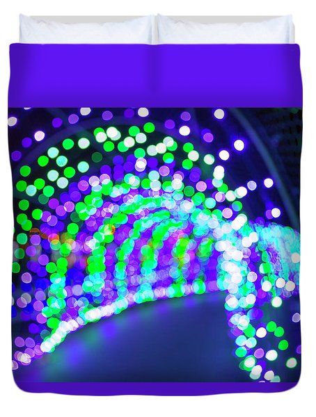 Christmas Lights Decoration Blurred Defocused Bokeh Duvet Cover