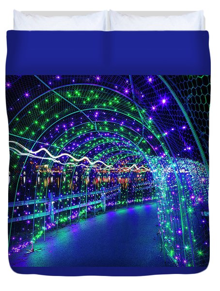 Christmas Lights In Tunnel At Lafarge Lake Duvet Cover