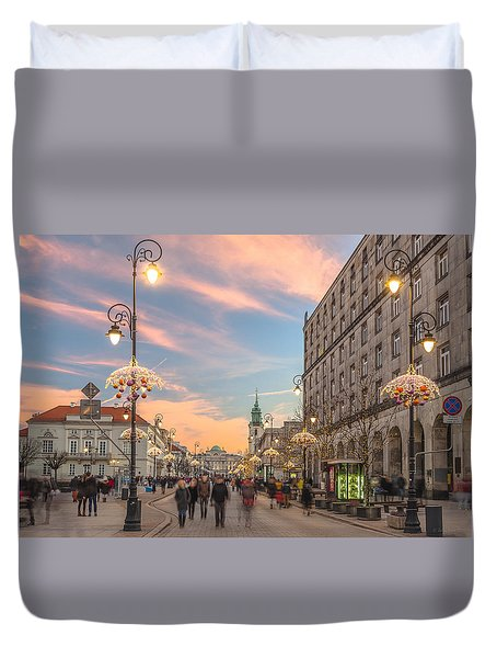 Christmas Lights In Warsaw Duvet Cover by Julis Simo
