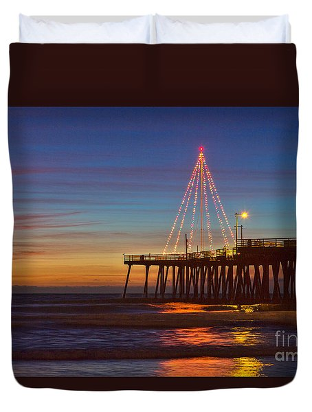 Christmas Lights On The Pismo Pier Duvet Cover