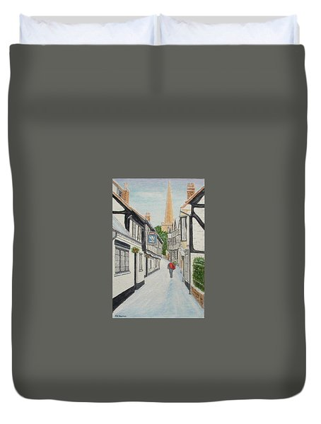 'christmas Mail', Ledbury, Herefordshire Duvet Cover by Peter Farrow