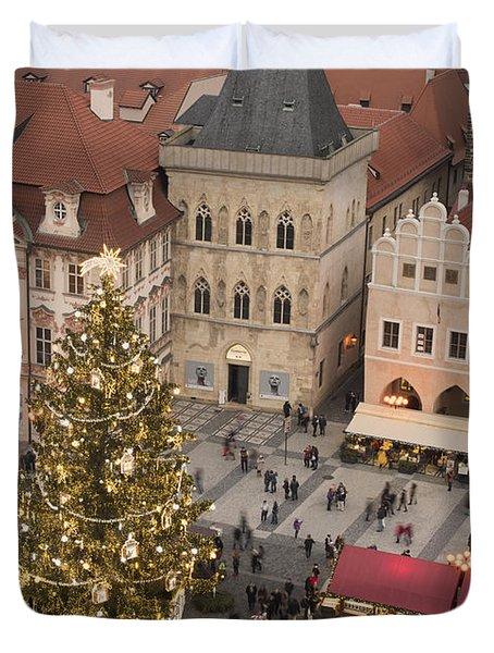 Christmas Market. Prague Duvet Cover
