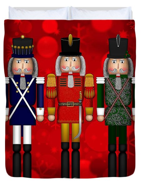 Christmas Nutcracker Trio Duvet Cover