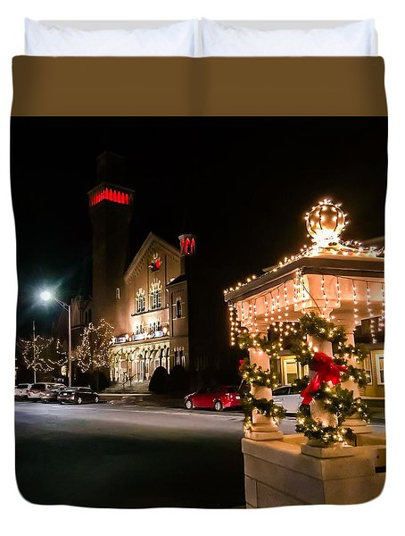 Christmas On Main Street Easthampton Duvet Cover