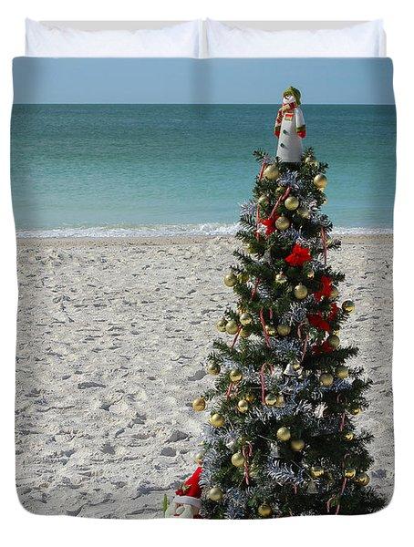 Christmas On The Beach Duvet Cover