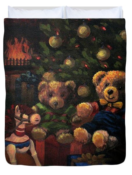 Duvet Cover featuring the painting Christmas Past by Karen Ilari