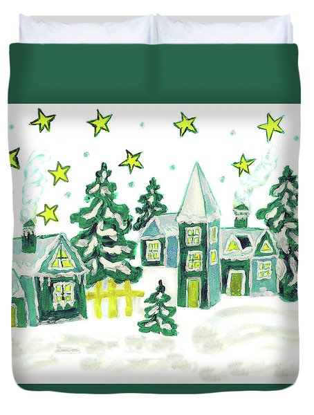 Christmas Picture In Green Duvet Cover