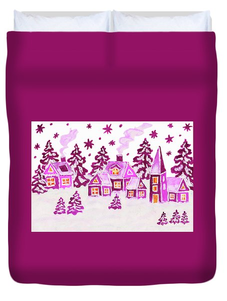 Christmas Picture In Pink Colours Duvet Cover