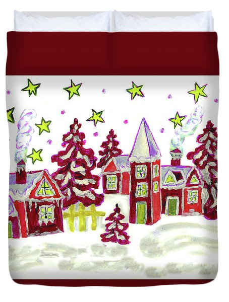 Christmas Picture In Red Duvet Cover