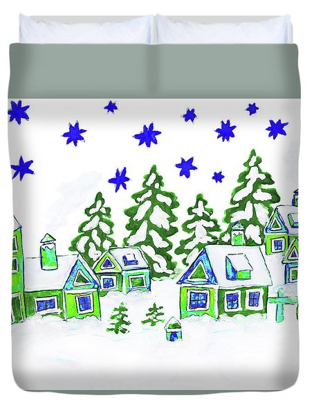 Christmas Picture, Painting Duvet Cover