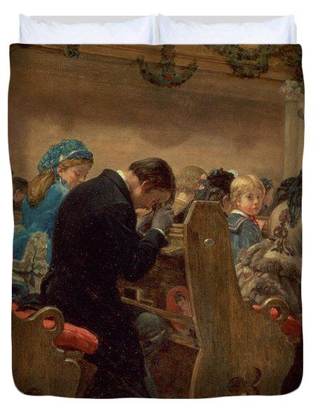 Christmas Prayers Duvet Cover by Henry Bacon