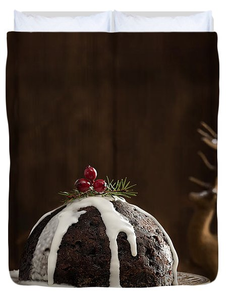 Christmas Pudding With Cream Duvet Cover