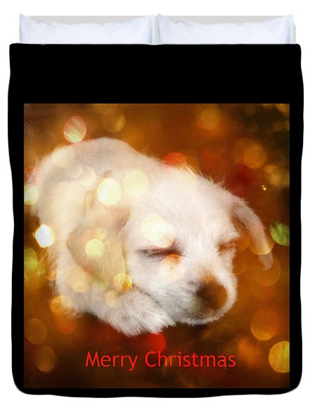 Christmas Puppy Duvet Cover by Amanda Eberly-Kudamik