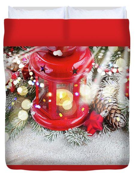 Christmas Red Lantern  Duvet Cover