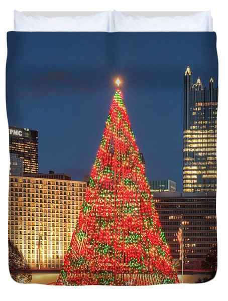 Duvet Cover featuring the photograph Christmas  Season In Pittsburgh  by Emmanuel Panagiotakis